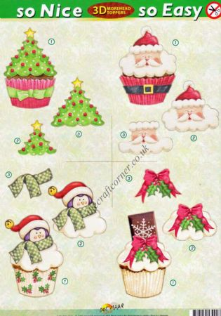 Christmas Tree Cup Cakes So Nice, So Easy Morehead 3D Die Cut Decoupage Sheet